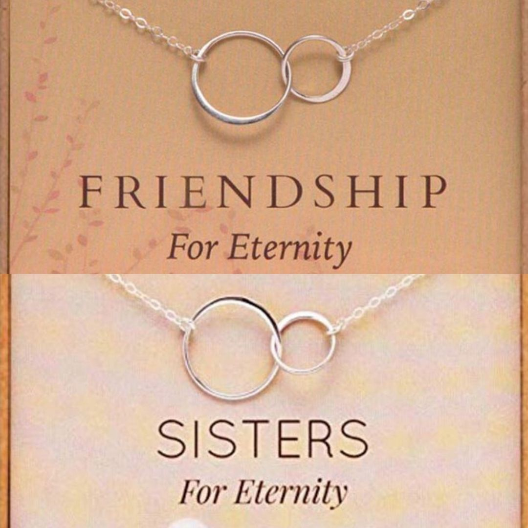 relationship love gift eternity double circles charm necklace eternity jewelry Eternity Necklace